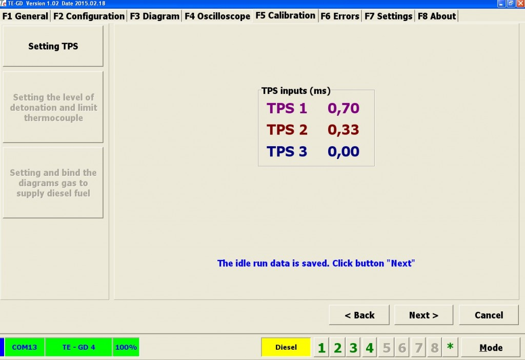 Фиксируем значения TPS на холостом ходу